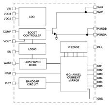 6 ch led backlight driver power supply nxp nxp ® mc34845 led driver block diagram