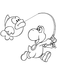 Small Picture Yoshi Fishing Coloring Page H M Coloring Pages