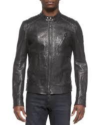 belstaffkirkham k racer leather jacket charcoal