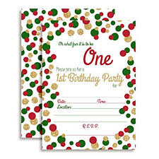 Christmas Birthday Party Invitations Amazon Com Red Green And Gold Polka Dot Christmas 1st Birthday