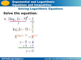 8 solving logarithmic equations