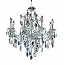 elegant lighting 8 light chrome chandelier with clear crystal