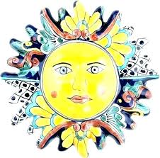 sun face wall art faces decor ceramic mysterious themed decoration large ter