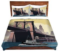 brooklyn bridge new york city twill duvet cover contemporary duvet covers and duvet sets by dianoche designs