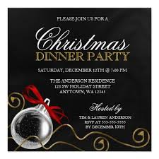 Formal Christmas Party Invitations Christmas Ornament Red Bow Dinner Party Invitation Zazzle