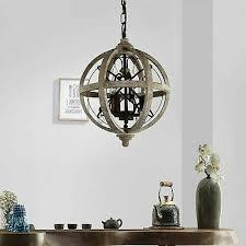 industrial loft wooden globe metal orb
