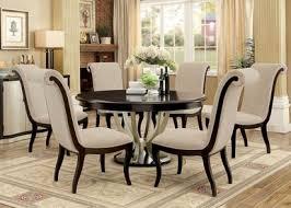 60 abela espresso chagne round dining table set