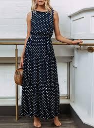 <b>Women's Sleeveless</b> Maxi Dress - <b>Polka Dot</b> Print / Navy Blue