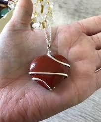 red jasper heart pendant worry stone