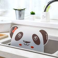 Cute Panda Sucker Kitchen Sink Flap Splash Guard Baffle Wash Basin