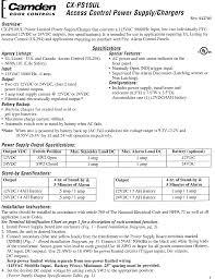 Camden CX PS10UL Instructions A165 CXPS10UL Installation Manual