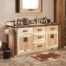 rustic bathroom double vanities. Simple Bathroom Real Hickory Rustic Bathroom Vanity 48 Throughout Double Vanities