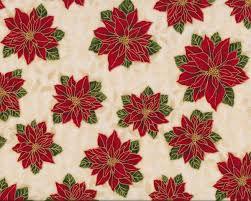 Patchworkstoff Holiday Flourish Mit Weihnachtsstern Blüten Rot Hellbeige Gold Metallic