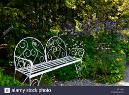 white wrought iron garden furniture. White Metal Wrought Iron Seat Bench Garden Gardening Furniture Shaded Shady Seating Area Patio Border E