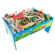 l multi colored wooden train set and table