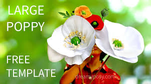 poppy template large paper poppy flower free tutorial and template