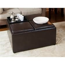 the lift off top transforms into 4 serving trays durable wood frame with synthetic leather avalon coffee table storage ottoman