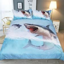 fashion boy children bedroom bedding set soft pillowcase usa au queen twin full king size print blue shark duvet cover set comforter sets queen on full