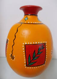 vibrant looking pot painted using acrylic colours painting potsclay