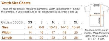 Gildan T Shirts Size Chart For Youth Gildan 5000b Youth Size Chart Buurtsite Net