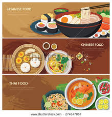 Illustration of Asian street food web banner , thai food , japanese food ,  chinese. vector art, clipart and stock vectors.