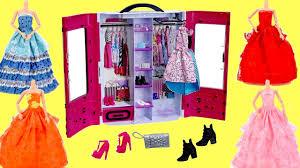 new barbie fashionistas ultimate closet wedding dress wardrobe tour and dress up barbie dolls