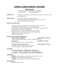 Employment Resume Resume For Your Job Application