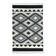 wool dhurrie rug diamond contrast 4x6 black and white wool