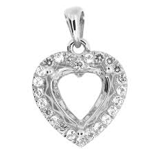 details about semi mount pendant setting heart ht 9x9 mm
