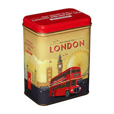 new for 2018 this embossed tin features a bold design inpired by london travel posters featuring icons such as the red routemaster bus postbo