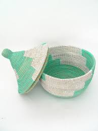 woven basket with lid. Detail 2: Aqua African Basket | Hand Woven In Senegal With Lid R