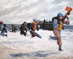 an oil painting of clowns storming normandy beach