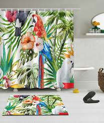 palm leaves flowers parrot shower curtain hook water bathroom decor bath mat