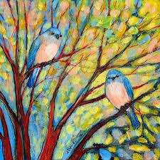 jennifer lommers two bluebirds painting two bluebirds fine art print