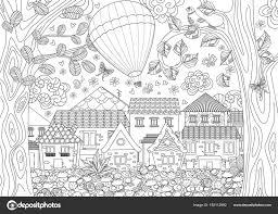 塗り絵のかわいい街上空の熱気球と素朴な風景のベクター イラスト