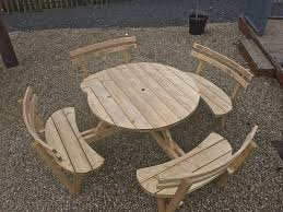 round picnic table with backs 8 people