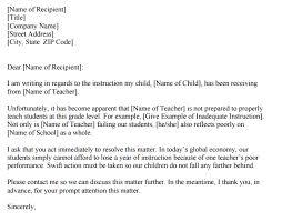 Complaints Letter Format 3 Teacher Complaint Letters Find Word Letters