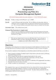 computer system management assignment help % off assignment help page 1 of 8 assignment 2 task specification itech2100 assignment 2 processing log files