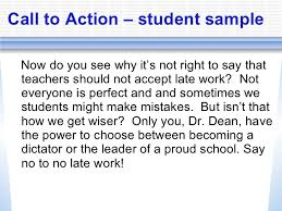 persuasive writing powerpoint call to action student sample