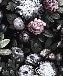 Black floral wallpaper ...