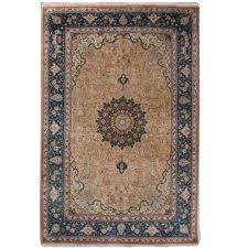 vintage pair of small pure silk persian tabriz rugs for small persian rug