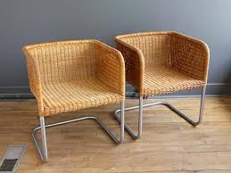 Harvey Probber Wicker Chrome Chairs