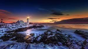 Winter Sunset Lighthouse Wallpapers ...