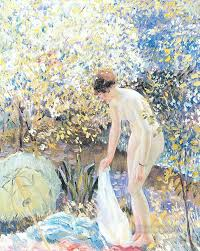 cherry blossoms impressionist women frederick carl frieseke oil paintings