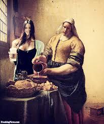 megan fox in a vermeer painting drinking milk