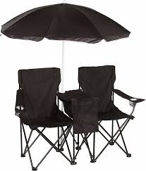 double folding camp and beach chair with removable umbrella and cooler by trademark innovations