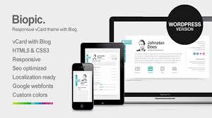 Biopic Responsive Vcard Wordpress Theme Website Templates And