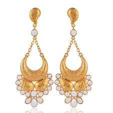 sterling silver gold plated chandelier earring with white crystal