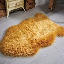 sheepskin rugs faux fur ochre tap to expand