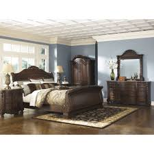 Orlando Bedroom Furniture Ashley Furniture North Shore Sleigh Bedroom Set In Dark Brown